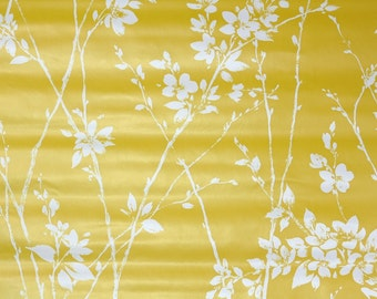 Retro Wallpaper by the Yard 70s Vintage Wallpaper - 1970s White Flowers on Yellow