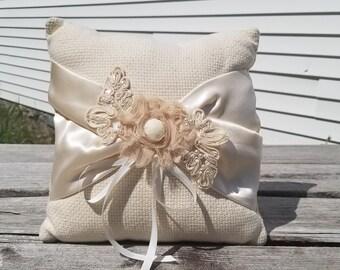 Vintage Shabby Chic Keepsake Ring Bearer Pillow Wedding Accesory
