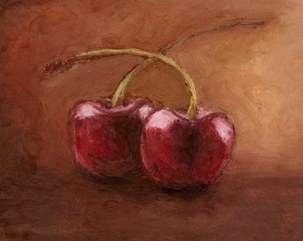 Giclee, Archival, Matted Print of an Original Oil Pastel Painting of Cherries