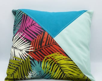 Palm leaves pillow case in cotton