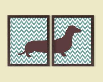 Dachshund Instant Download Printable - Set of 2 - 8x10 - Daschund, Chevron, Digital Printable Poster, Wall Art, Dog, Pet L