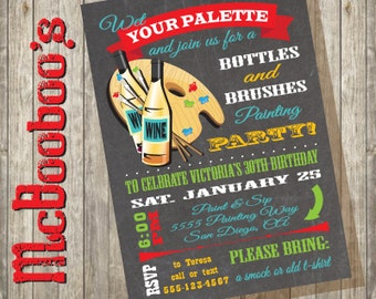 Chalkboard Bottles and Brushes Paint and sip Art painting party invitation