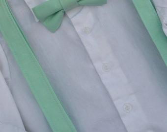Solid Mint Bowtie & Suspender Set - Baby / Toddler / Child