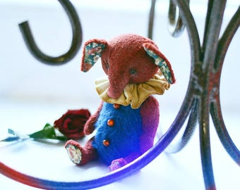 Artist teddy toy mohair elephant vintage retro collection interior design blue red