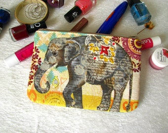 Zippered pouch with elephants, makeup bag, phone case, purse
