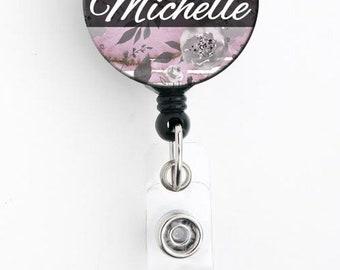 Retractable ID Badge Holder - Pastel Pink Black Floral - Personalized Name Badge Reel, Steth Tag, Lanyard, Carabiner Nurse Badge