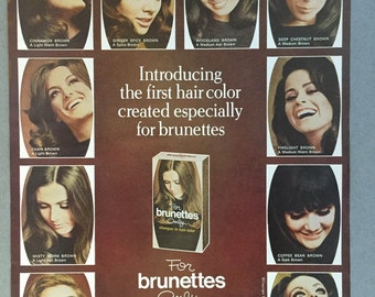 1969 For Brunettes Only Print Ad - Shampoo-in Hair Color - 1960s Hair Styles