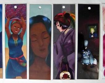 Original Anime and Manga Art Laminated Bookmarks with Hole for Tassel