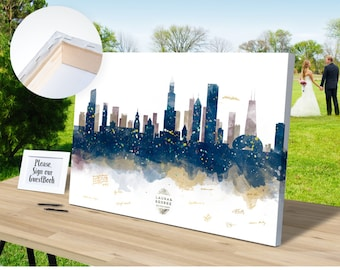 Chicago Skyline Alternative Wedding Guest Book CANVAS - Ready to Hang - Guest Book, Bride and Groom, Wedding Gift Ideas, Bridal shower Gift