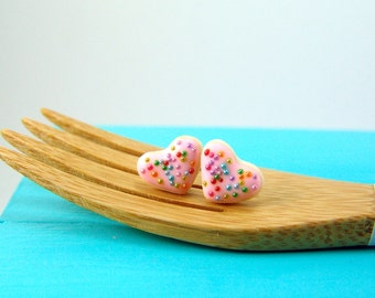 Food Jewelry // Heart Shaped Cookie Earrings in Pink Rainbows // MADE TO ORDER // Post Earrings