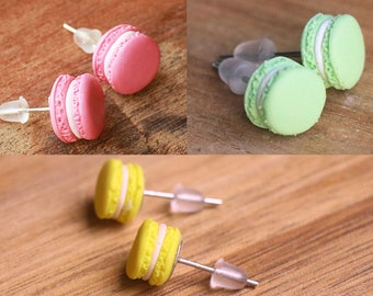 Macaron Ear Studs Earrings in All Colors - hypo-allergenic, food jewelry, food earrings, miniature food, birthday gift, macaron ear studs