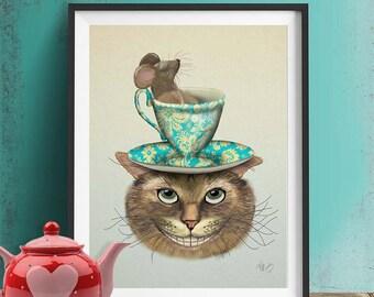 Alice in Wonderland Decor Cheshire Cat & Cup alice in wonderland tea party alice in wonderland print wonderland home decor wall decor