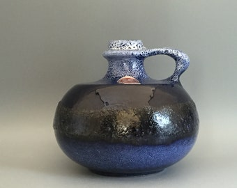 VEB Haldensleben  4096 Mid Century Modern uncommon  1960s / 1970s Fat Lava Vase  East German Pottery.