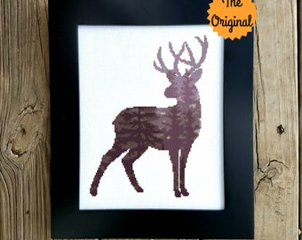 The Original - Modern Deer Cross Stitch Pattern, Animal Silhouette, Forest, Stag Cross Stitch, Woodland, Crossstitch, Antlers Pattern PDF