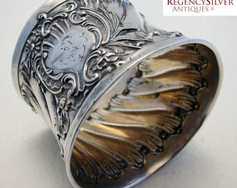 Rare Antique French early 19th-Century (c1820) Solid Silver Large ROCOCO Serviette NAPKIN RING.