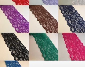 "Elastic Stretch Floral Lace 3"" 7.5cm ***10 DIFFERENT COLOURS*** x 1 YARD"