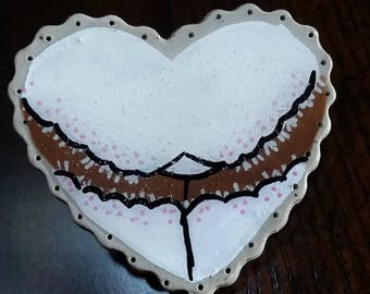 Heart Booty - Handmade Ceramic Pin