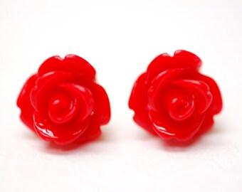 Cherry Red Rose Earrings