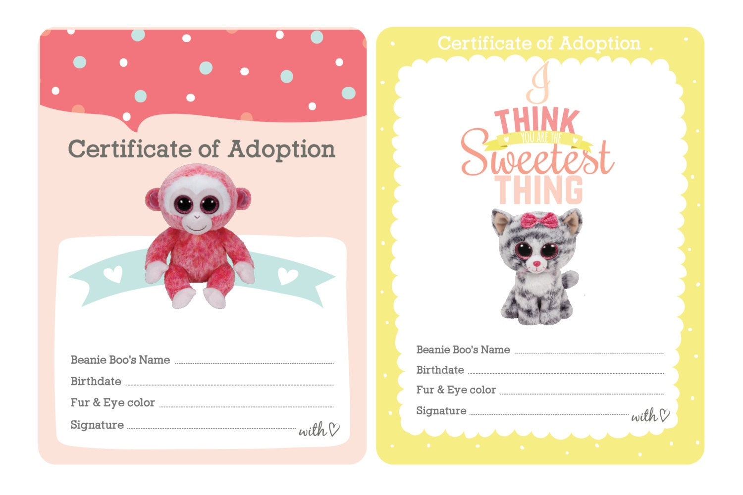 Certificate of Adoption Beanie Boo Birthday Party