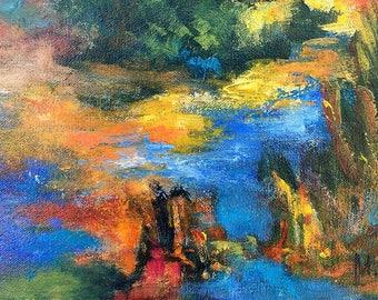 Twilight - point of view #3, original art, landscape, acrylic, semi-abstrait, 6 3/8 x 11 1/8 in. (16 x 28.5 cm), landscape, acrylic.
