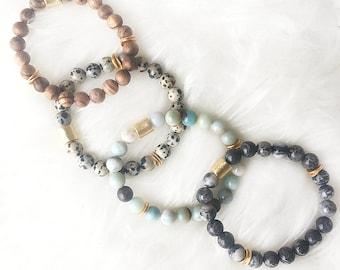 Beaded Natural Gemstone Stackable Bracelets - Stretchy Beaded Bracelet - Gold - Beaded Bracelet - Gemstone Bracelet -Stretchy Bracelet-Gold