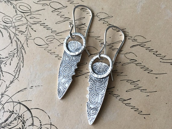 Shield Earrings, Textured Silver, Carved Jewelry, Artisan Earrings Handmade
