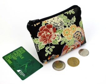 floral purse, coin wallet, zippered coin purse, purse travel, purse bag, zipper coin pouch, Chrysanthemum Black