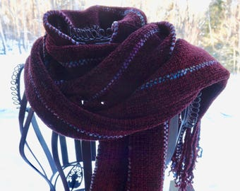 NEW ITEM! Chunky Handwoven Rayon Chenille Scarf in Wine