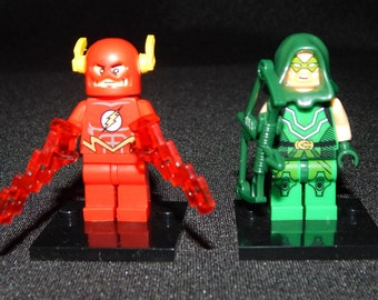Flash Green Arrow Set Of 2 Custom DC Minifigs Justice League Building Block Toy