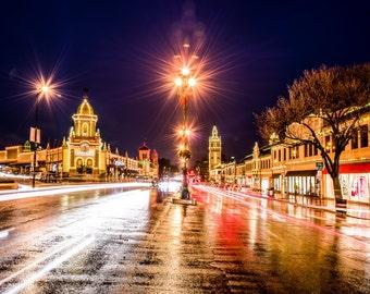 Plaza with Christmas Lights
