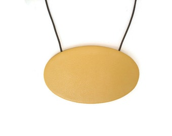 Golden Yellow Leather Necklace, Large Leather Oval Pendant, Statement Necklace, Leather Disc Necklace Gift for Her