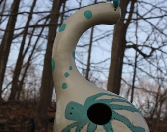 Hand painted gourd birdhouse, Octopus, seacreature, out door, nature, fun bird house,cavity-nesting birds