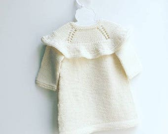 ruffle cotton merino baby dress -  handmade - knitted baby dress - holidays baby dress - knitted christmas dress - christmas outfit - bless
