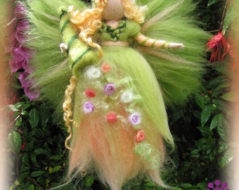 Gwanwyn Spring Fairy needle felted and waldorf inspried