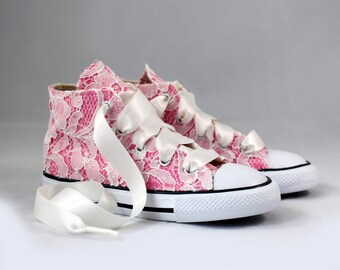 Custom Girls Converses Ivory lace - Ivory Lace Converses --Bridal Converses -- Girls Converse High Top  - Wedding Converse