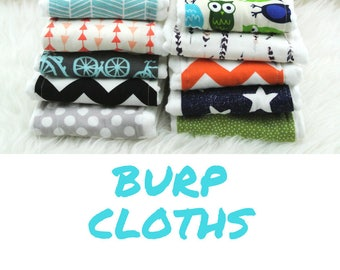 PICK ANY 10 Baby Burp Cloths ||| burp rag, baby burp cloths, burping rag, baby shower gift, baby gift, new baby gift