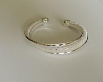 Silver Mesh Cuff Bracelet/ Silver Bracelet-Art Deco Silver Bracelet Cuff-Adjustable Silver Chain Bracelet-Ribbed Silver Bracelet For Her-925