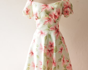 SALE - Green Floral Dress Women Vintage Puff Sleeve Dress Snow White Dress Swing Dance Dress Summer Dress Homecoming Lolita Bridesmaid Dress