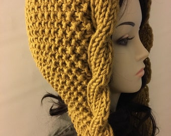 Cable Slouchy Hat with Tassels, Gift Knit Hat, Oversized Hat, Hooded Hat, Gift Women Hat, Gift Girl Hat