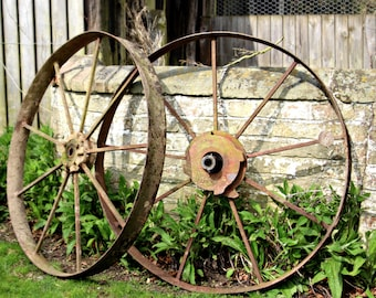 Stunning Pair Authentic Antique Cast Iron Cart Wheels - Industrial, Agricultural