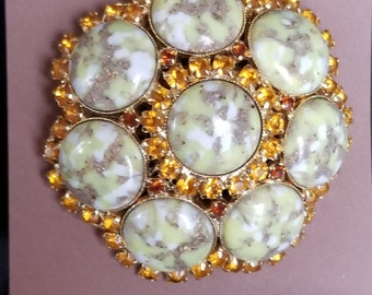 Brooch- Very Large rhinestone and stone yellow and amber 1960's