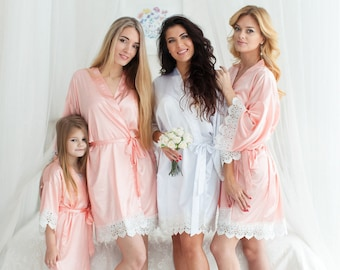 Bridesmaid Robes | Bridesmaid Gifts | Bridal party gift | Maid of Honor Robe | Pastel Lace Robes | Wedding Robe | Getting Ready Robe