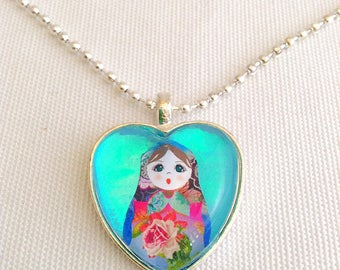Russian doll necklace, heart necklace, matryoshka doll, Russian nesting doll pendant, aqua love heart