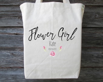 Flower Girl Tote Bag, Wedding Tote Bag, Flower Girl, Cotton Canvas Tote, Wedding Gift, Flower Girl Gift, Recycled Cotton Canvas Tote