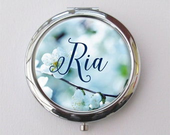 Blue Bridesmaid Gift, Personalized Compact Mirror, Blue Wedding