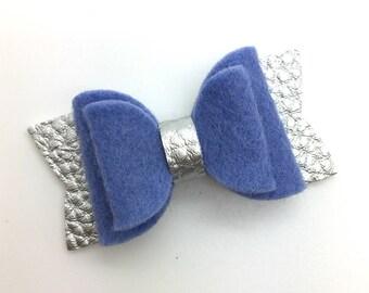Handmade Wool Felt  Bow, Winter Felt  Bows, Baby Hair Bow, Headband Bow.