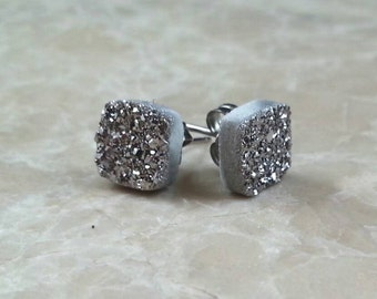 """Tiny Square 8mm (1/3"""") Silver Druzy Drusy Post Stud Earrings"""