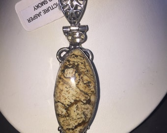 Jasper and smoky pendant in silver
