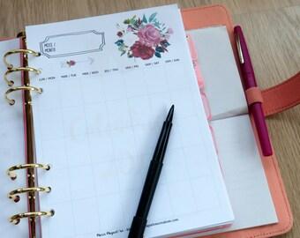 Insert A5 - Kit Semaine + Mois + Notes perpétuel roses pour planner - agenda -Bullet Journal - Kikki K - Filofax - s'organiser - Inserts
