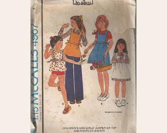Little Girls Easy Pinafore Apron Jumper with Top and Pants or Shorts Vintage 1970s McCalls Sewing Pattern 4967 Size 7 Chest 26